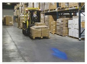 Blauw pijl veiligheids werk lamp at work